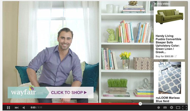 Illustration de Trueview for Shopping via Youtube Ads.