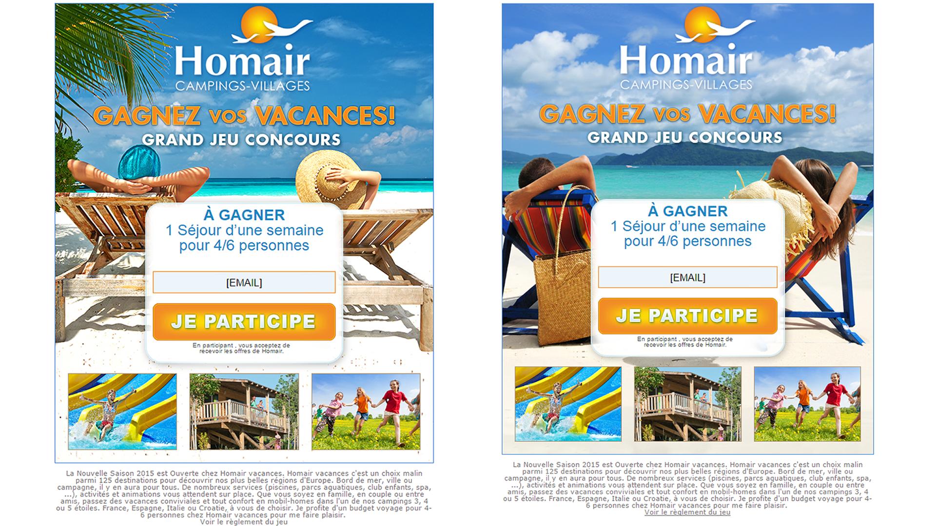 2 créations d'emails pour l'opération de clic-lead Homair.