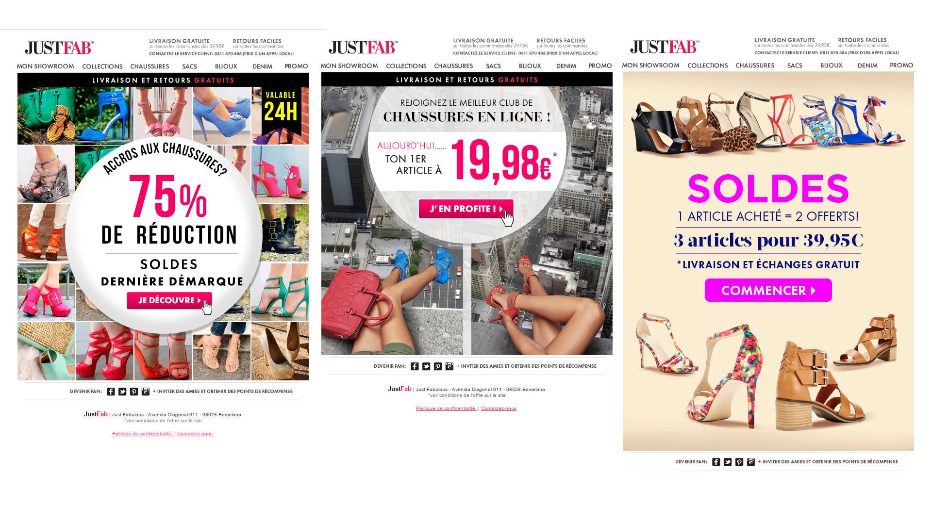 Exemples d'emails - campagne JustFab.fr