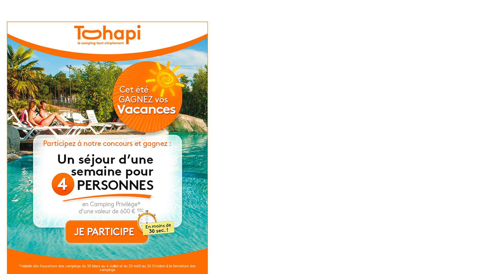Création graphique de l'email de participation au jeu concours Tohapi.