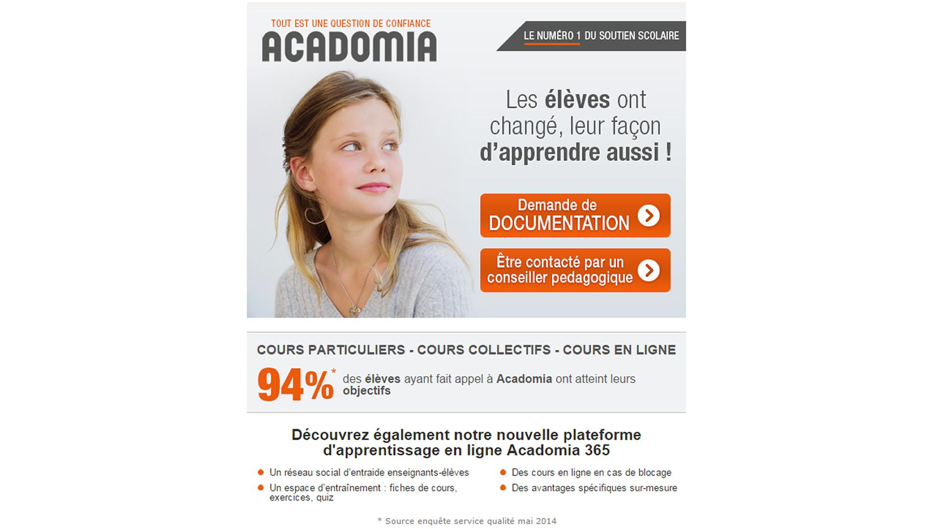 Nouvelle landing page Acadomia.